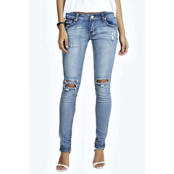 aec4c29f52 Boohoo Blue Lea Low Rise Double Distress Knee Skinny Jeans ( 35) ❤ liked on  Polyvore featuring jeans