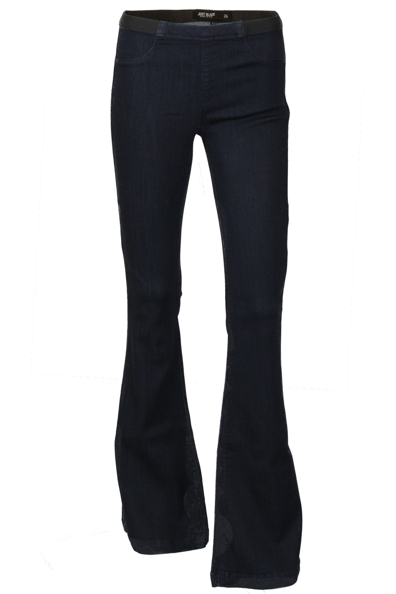 0752976ea4c2f3 High Rise Elastic Waist Stretch Flare Jeans - Super Dark Wash | Love ...