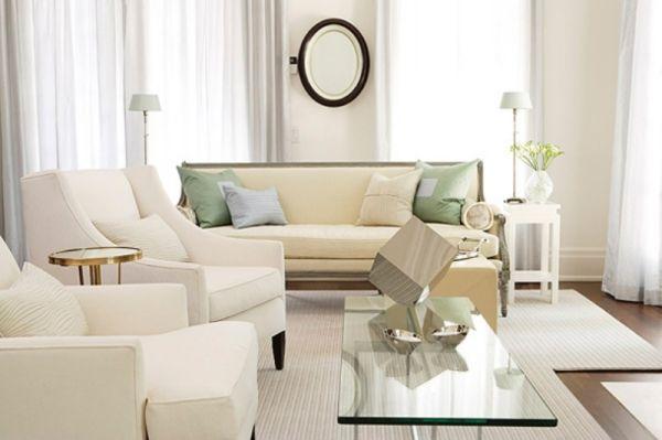 Ideen Weißes Wohnzimmer Moderne Möbel Creme
