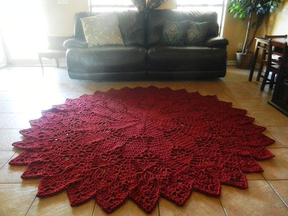 Crochet Doily Rug Dark Red Rustic Chic French Country Round