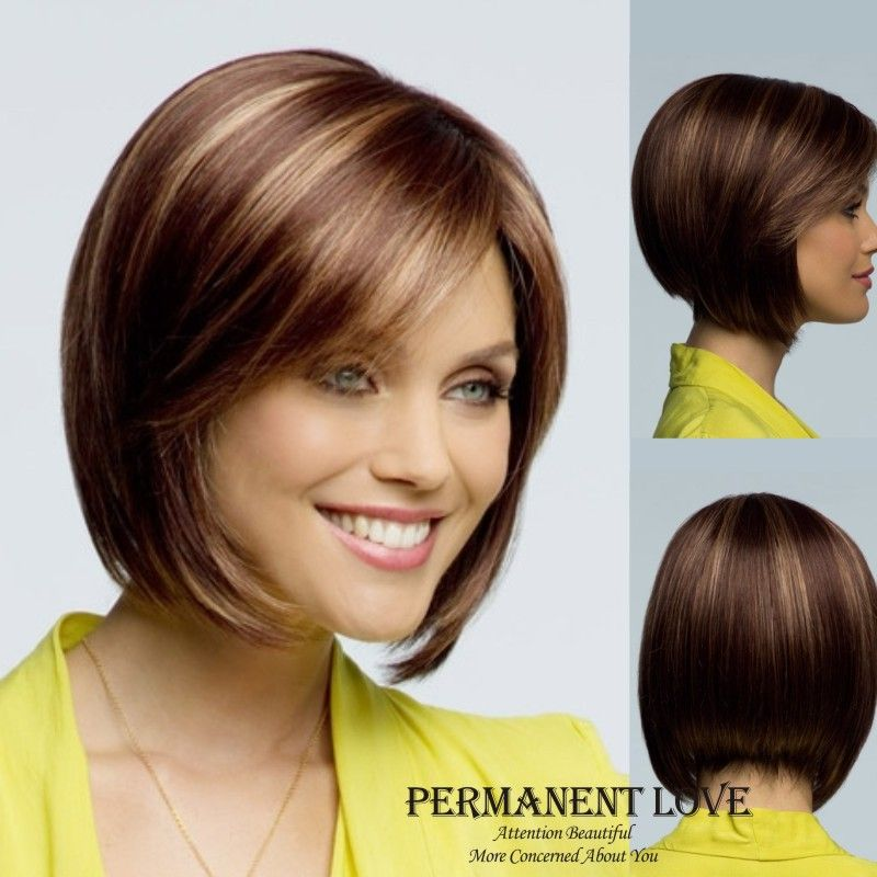 Wig Net On At Reasonable Prices Synthetic Hair Short Bob Wigs With Side Bangs Brown Blonde Highlights Natural Straight For Women