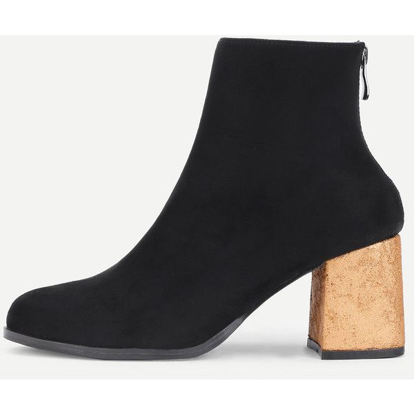 87f6ba774c SheIn(sheinside) Back Zipper Gold Heeled Ankle Boots (2.595 RUB) ❤ liked on  Polyvore featuring shoes, boots, ankle booties, black, back zip boots,  bootie ...