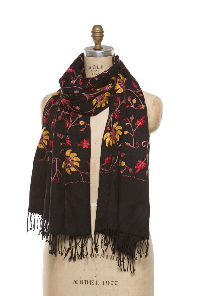 Embroidered Wrap - Black