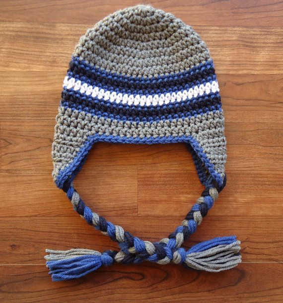 Crocheted+Baby+Boy+Ear+Flap+Hat+with+Braided+by ...