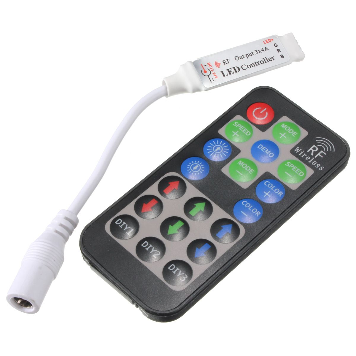 Wireless Led Light Strips Cool 19 Key Rf Wireless Remote Led Controller Dc Plug To 4Pin For Rgb Design Ideas