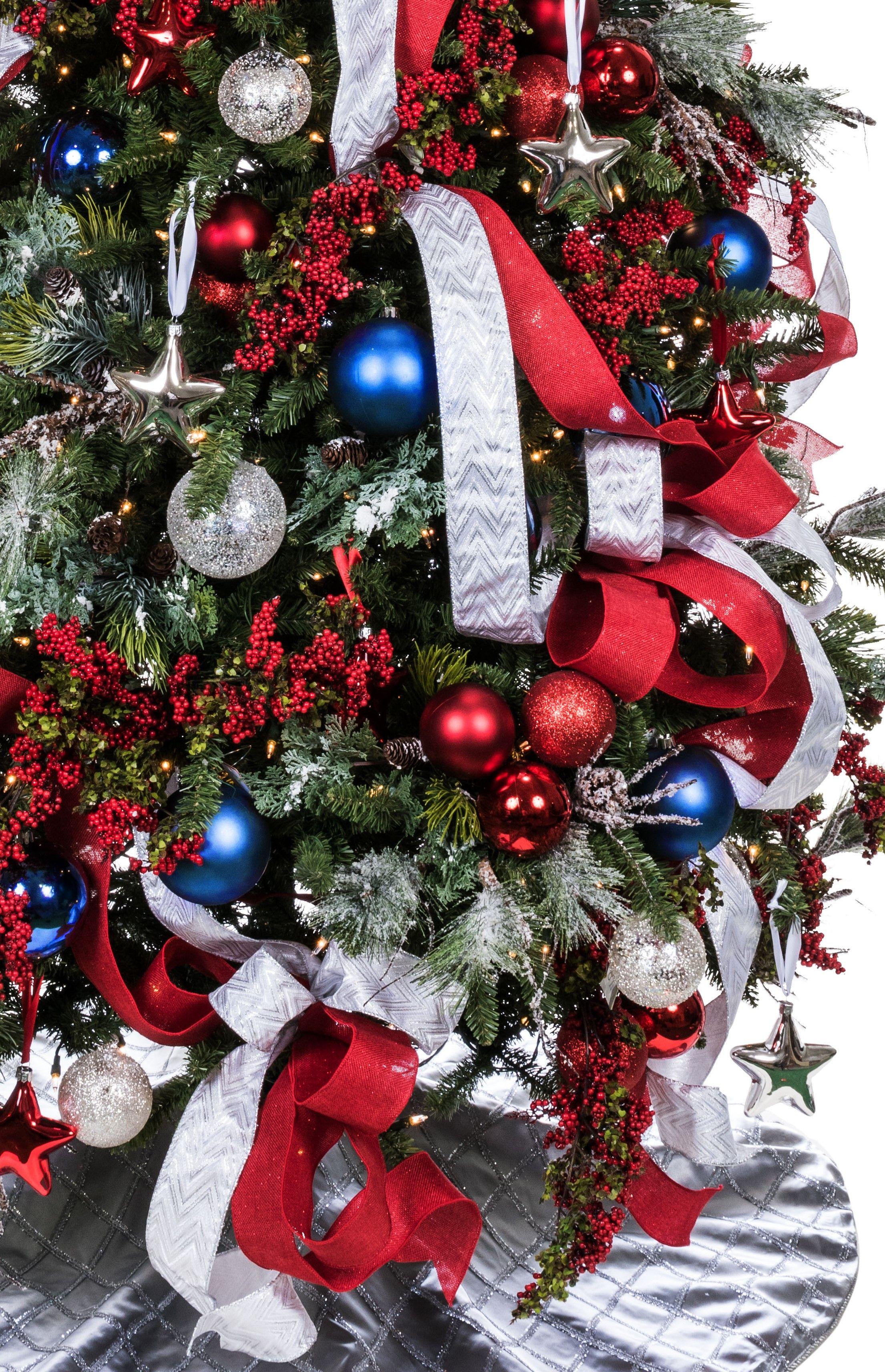 Stunning Red, White and Blue Patriotic Christmas tree, Treetime's Balsam Glen Chr…   Patriotic ...