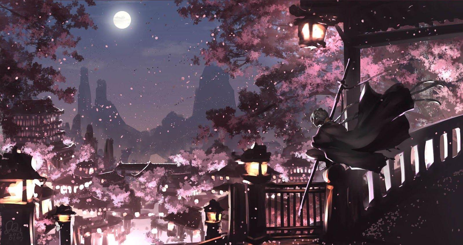 Night City Of Sakura Wallpaper Engine Anime Night City Anime Wallpaper Cute Laptop Wallpaper Anime city night wallpaper 4k