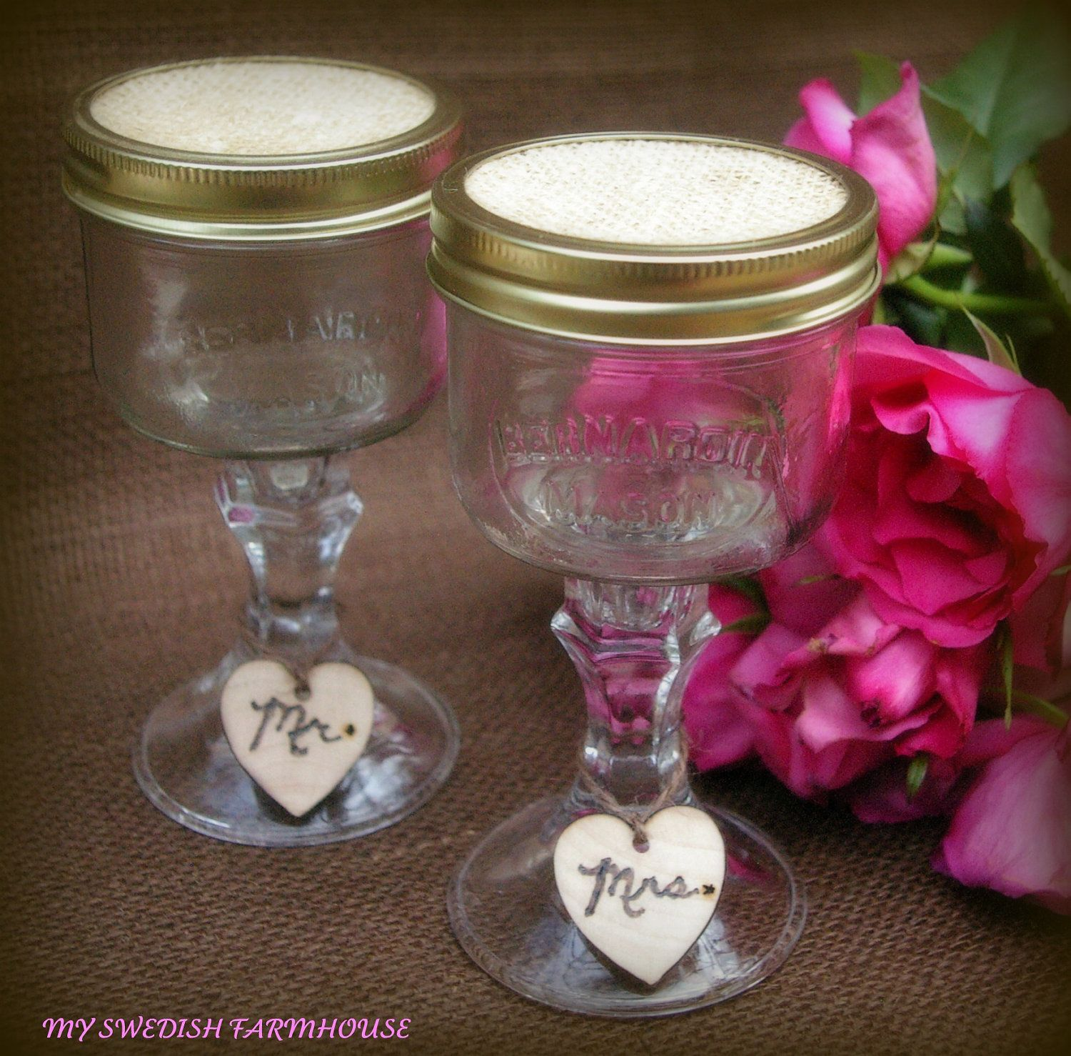 Items similar to Mason Jar Wine Glasses Cowboy Cowgirl or Heart Charms  Rustic Wedding Decor Western Barn Wedding, Set Personalized Redneck Glasses  on Etsy