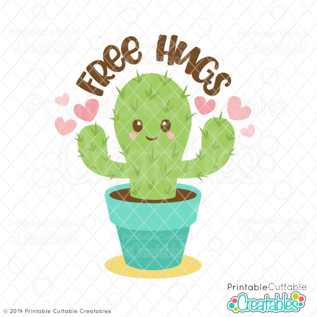 Download Valentine's Day Free Hugs Cactus SVG File for Silhouette ...