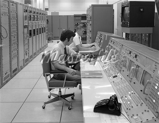 1960s 1970s COMPUTER ROOM MISSION CONTROL CENTER