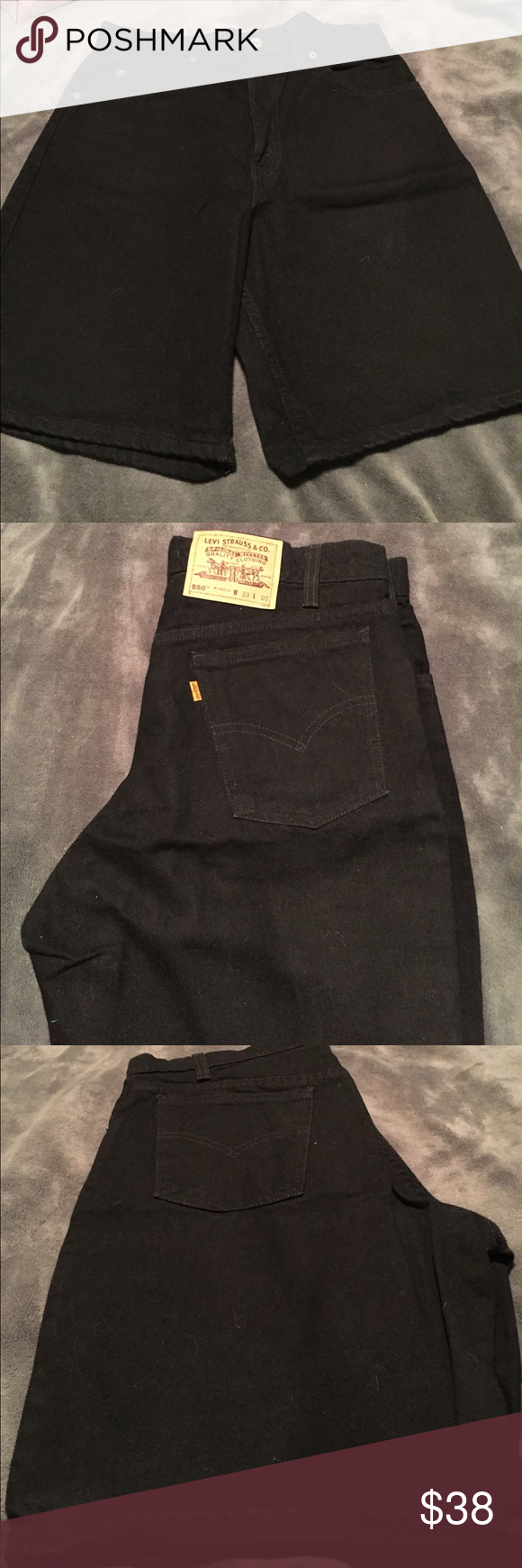 "Men's Vintage Levi Relaxed Fit  550 Denim Shorts Men's Black Levi 550 Shorts.    Relaxed Fit.     Waist -- 33"".    Length  -- 00.                              I measured length at --20"".                            .       Never Worn Relaxed Levi Shorts.       Vintage Levi's Levi's Shorts Jean Shorts"