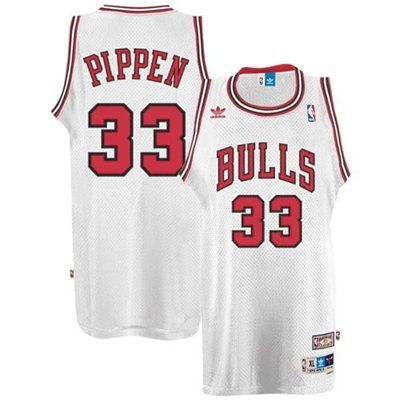 908fa05534a adidas Chicago Bulls  33 Scottie Pippen White Hardwood Classics Swingman  Throwback Basketball Jersey