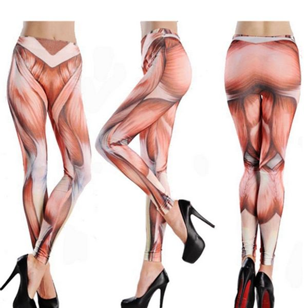 athleisure funny high waist fitness muscle pattern yoga tattoo, Muscles