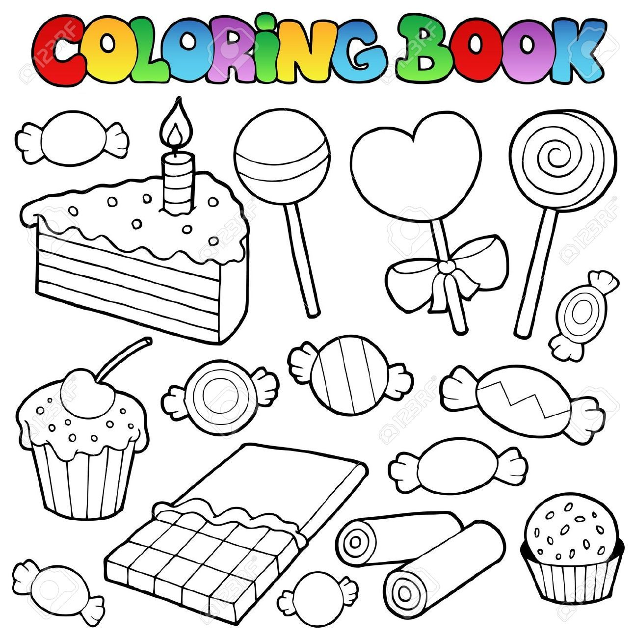 10780640-Coloring-book-candy-and-cakes-illustration--Stock-Photo ...
