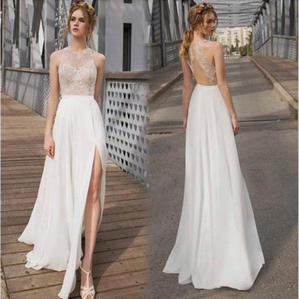 Beautiful white side split prom dress open back charming bridesmaid