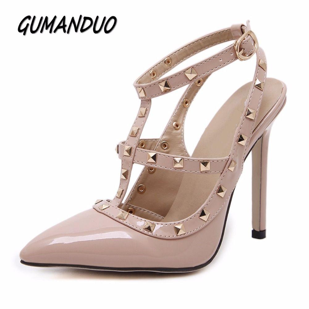 36250d7d91 GUMANDUO Novas mulheres bombas de verão da festa de casamento de moda sexy  rebites dedo apontado sapatos de salto alto sandálias mulher do tamanho  35-41