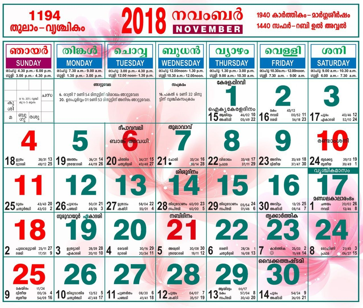 November 2018 Calendar Malayalam Calendar Malayalam November Malayalam Calendar November Calendar September Calendar