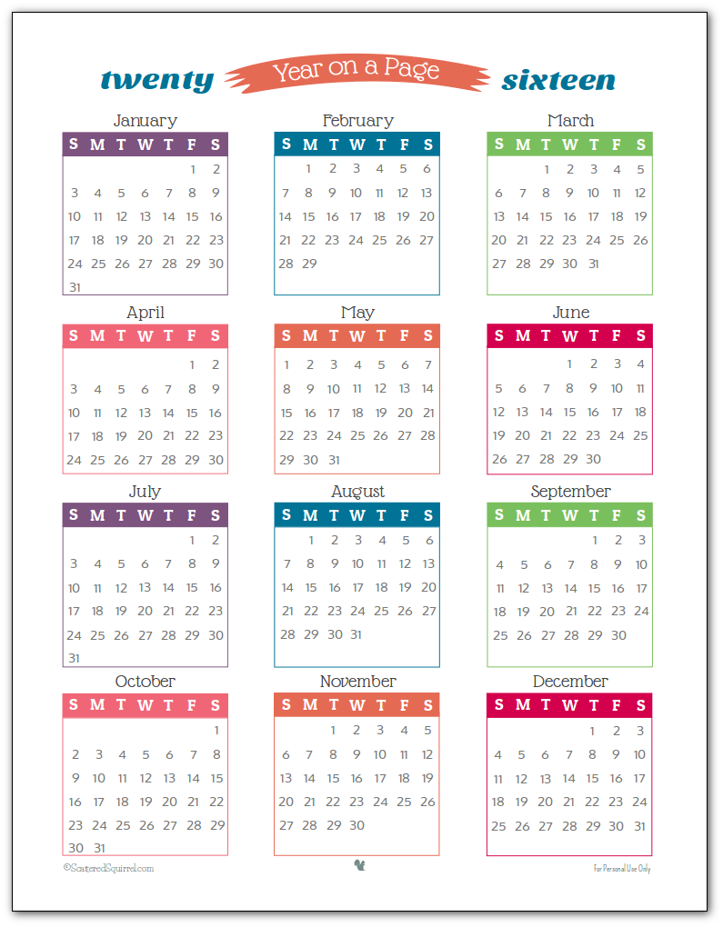 Year Long Calendar : Year on page printable calendars are here