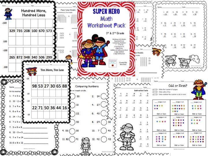 Superhero Math Worksheet Pack 1st 2nd Grade Expanded Form