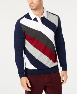 Club Room Mens Striped Rugby Polo Sweater