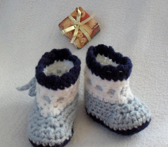 Baby Booties  silver blue with navy blue trim  by Pepperbelle, $12.00  Visit our shop at: http://www.etsy.com/shop/Pepperbelle