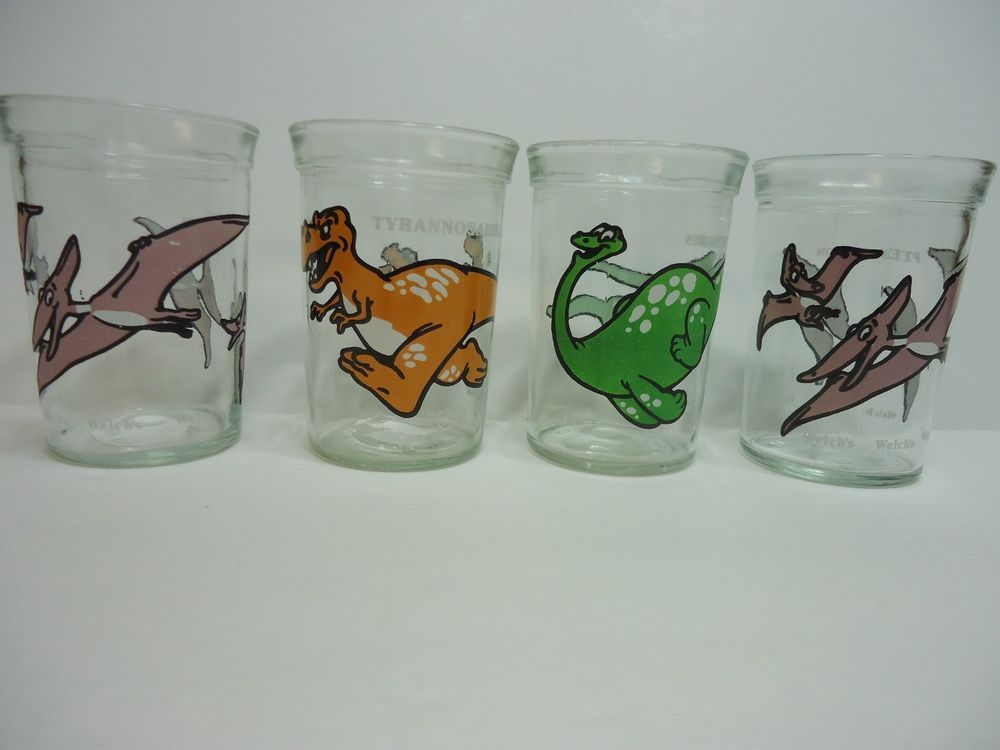 Welchs Dinosaurs Jelly Jars 1988 Lot of 4 Anchor Glass T Rex Brontosaurus Dinos #Welchs