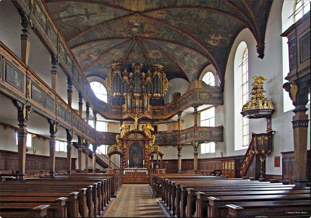 Speyer - Evangelische Dreifaltigkeitskirche; Innenansicht und Orgelempore