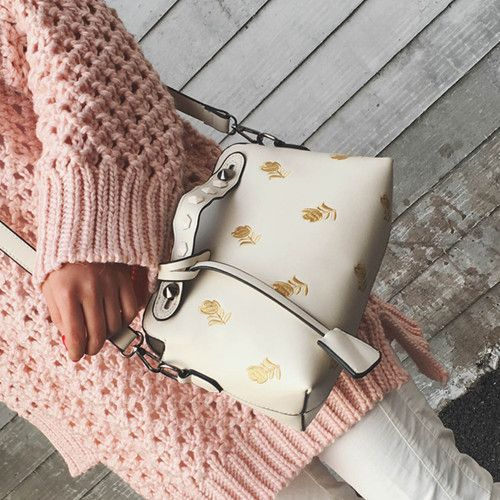 Fashion Women Shoulder Bags Leather High Quality Messenger Bag Boston Flowers embroidery Handbag rivet Cross Body Bags Purse
