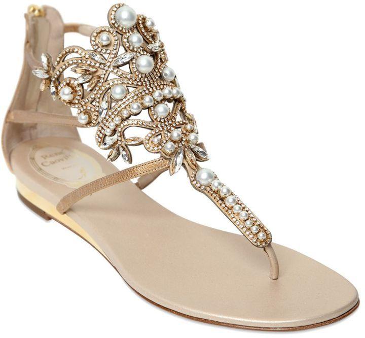 10mm Metallic Leather & Pearls Sandals