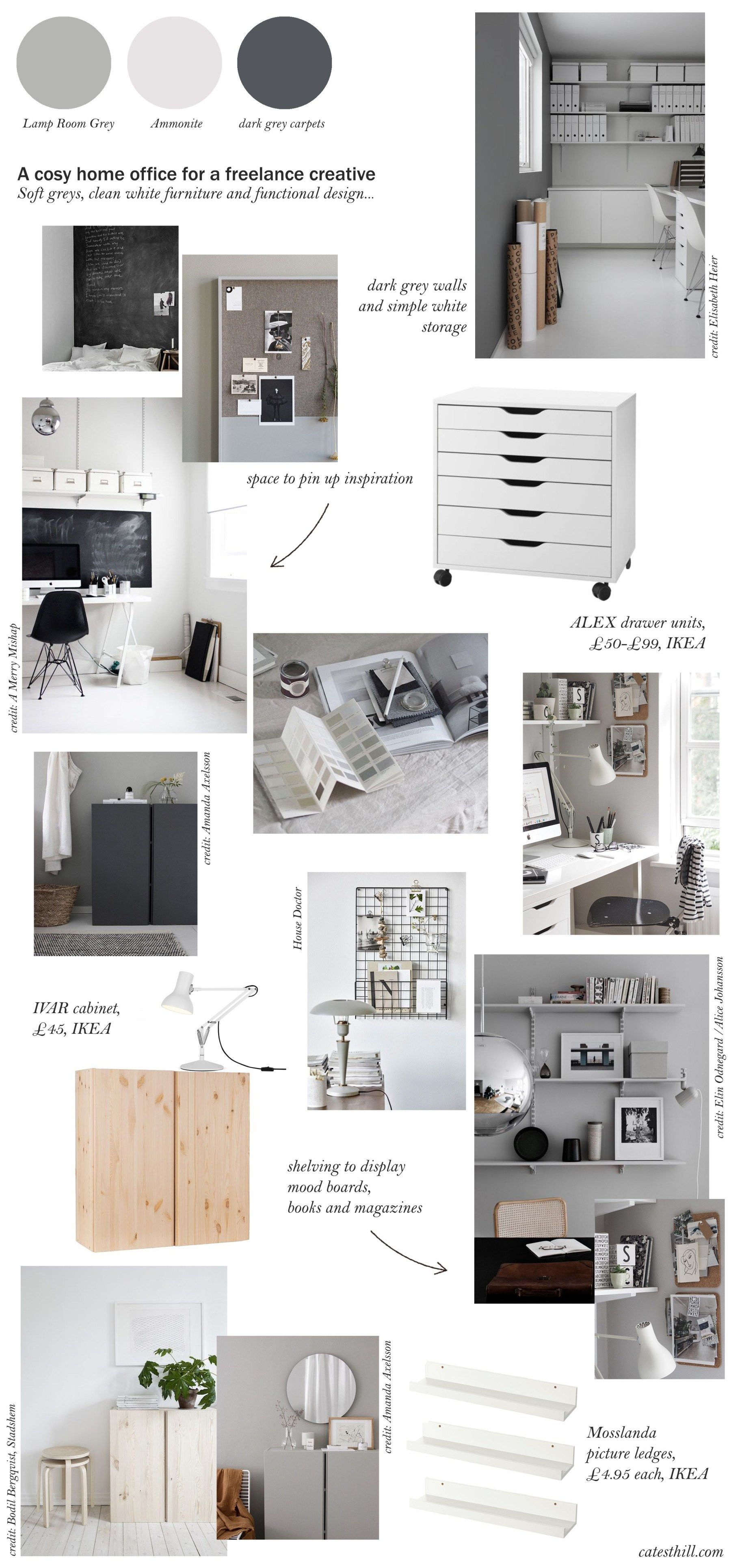 My cosy, grey home office makeover before + mood board
