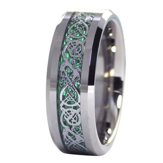 Silver Black Tungsten Wedding Ring Sets Promise Ring For Couple Celtic Irish Claddagh His Hers Tungsten Wedding Band Set Beveled Edges