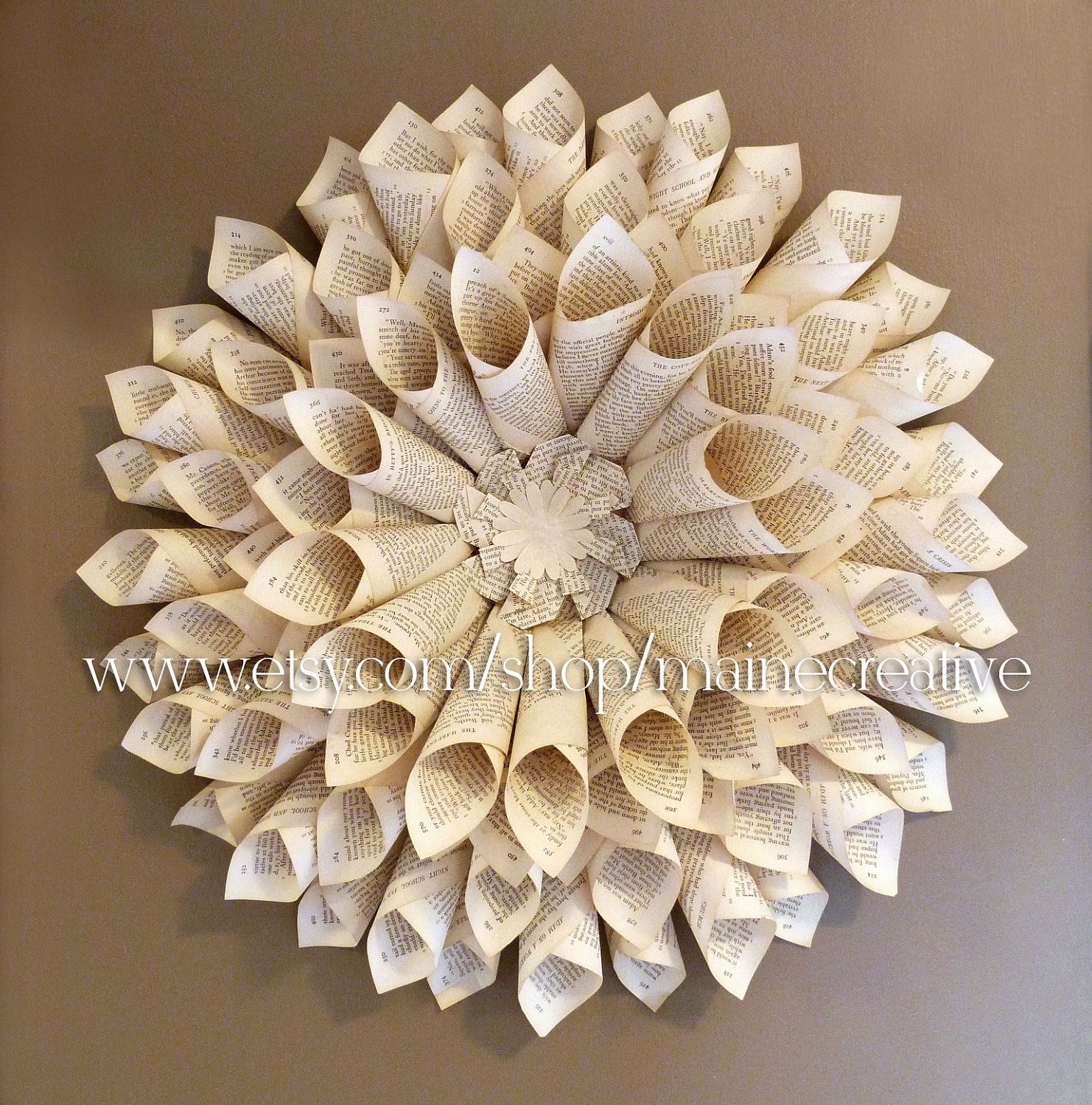 Bookpage wallflower 3 dimensional eco friendly recycled for Decoration paper