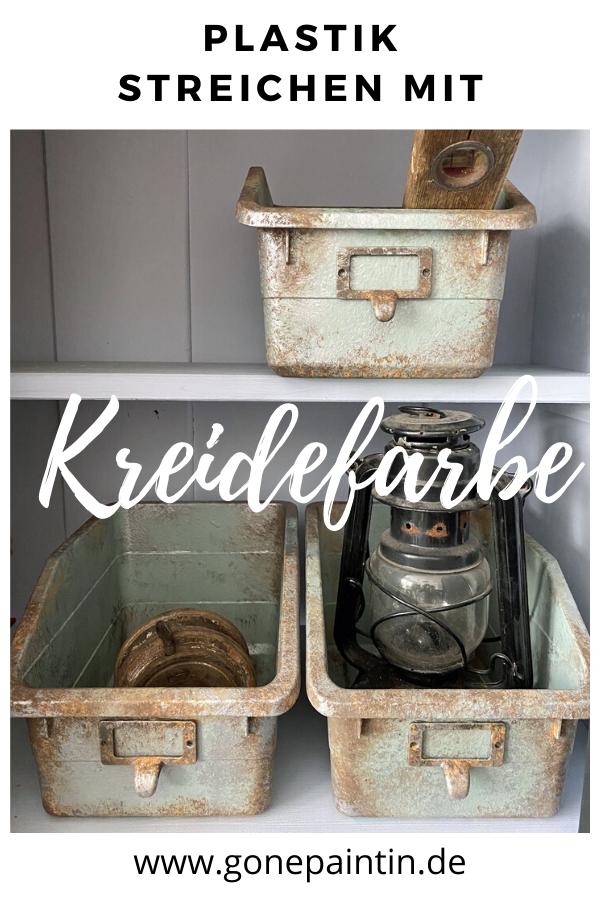 Plastik Streichen Mit Kreidefarbe Ikea Hack In 2020 Kreidefarbe Kreide Metallkiste