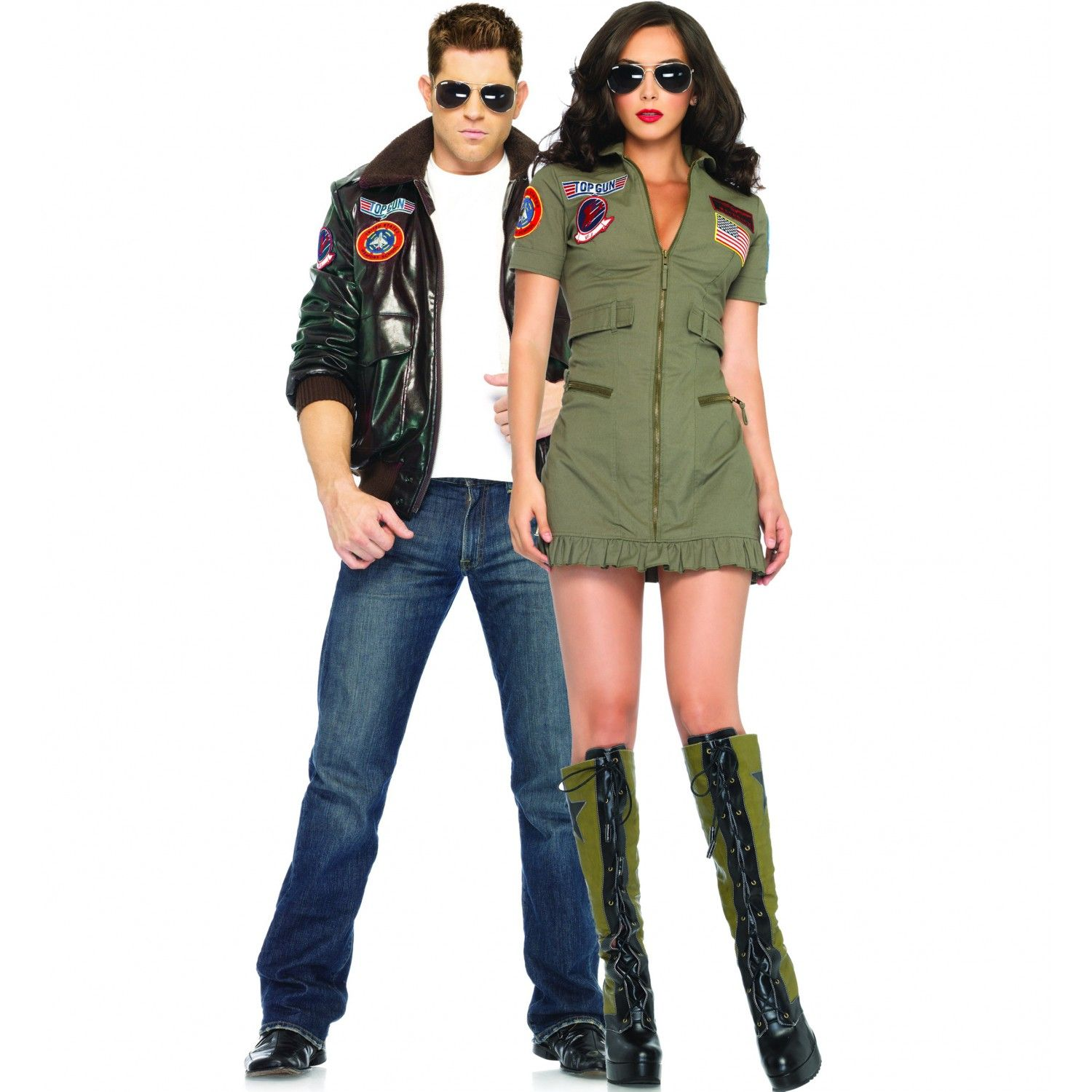 80S Couples Costume Ideas   Jacket And Womans Flight Suit Bomber Jacket Chic -3572