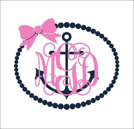 Anchor Monogram Decal Pearl Border Decal By CustomVinylbyBridge - Anchor custom vinyl decals for car