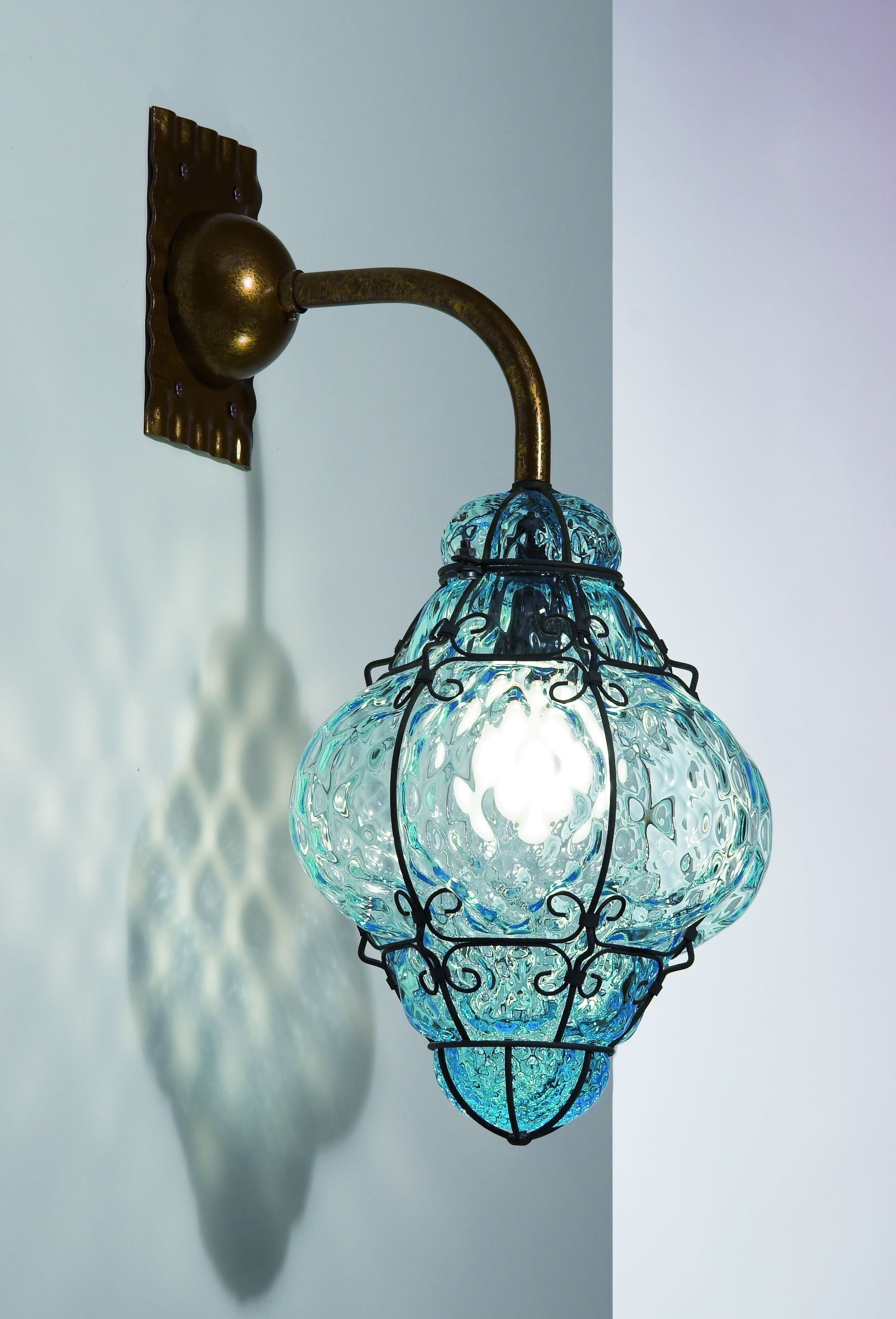 A beautiful clic blue, amber or clear Murano gl wall lantern ... on blue garden ideas, blue wallpaper ideas, blue landscaping ideas,