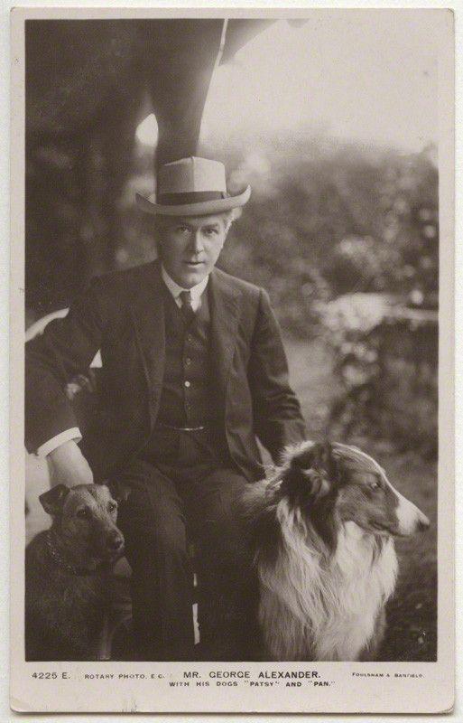 Sir George Alexander (George Samson) with his dogs Patsy and Pan.    vintage postcard print, 1906-1907