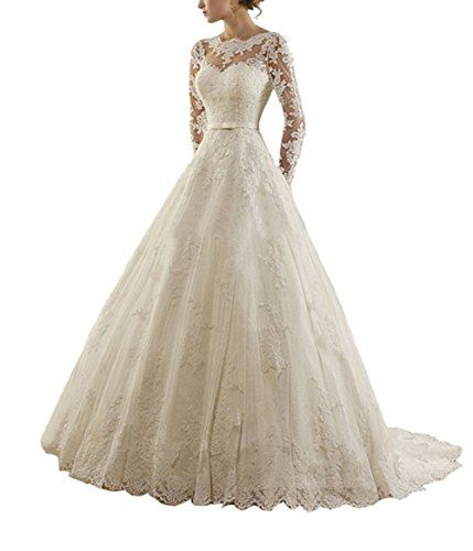 DreamMade Womens Sheer Neck Lace Sleeve ALine Wedding Dresses Long Bride Gowns -- Find out more about the great product at the image link.
