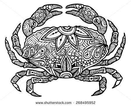 Zentangle Style Crab Vector Stock Vector With Images Crab Art Zentangle Animals Zentangle