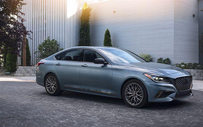 Indir duvar kağıdı 4k, Hyundai Genesis G80 Spor, 2018 araba, lüks otomobil, …