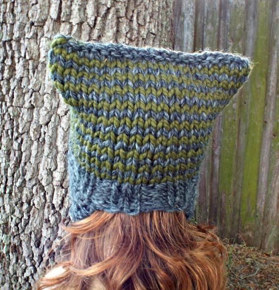 Knit Hat Womens Hat - Braided Ties Ear Flap Cat Hat in ...