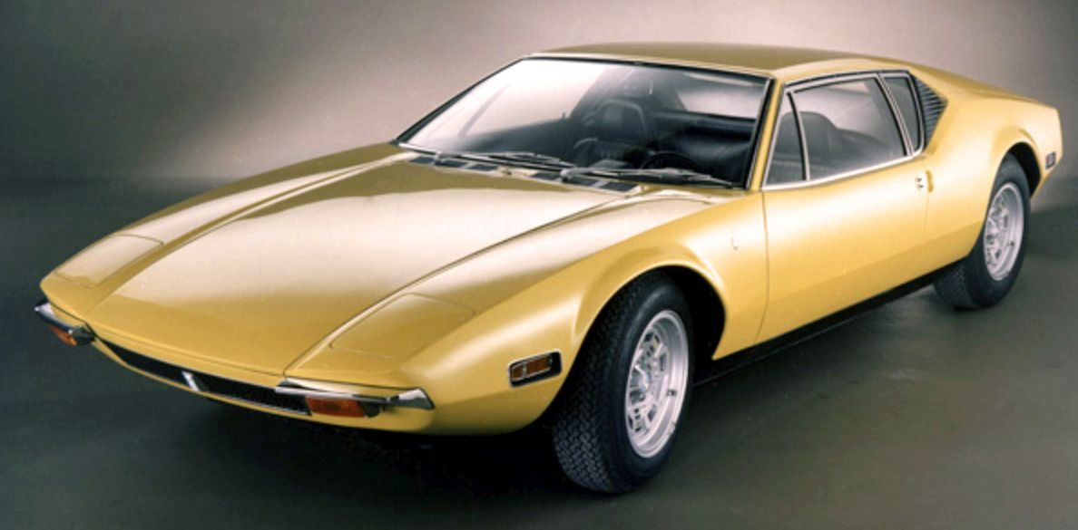De Tomaso Pantera, 1971. Designed by Tom Tjaarda when he was at Ghia and powered by a 330hp 351c