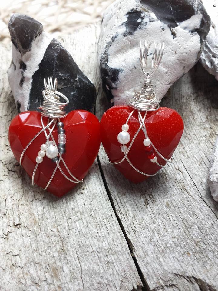 SEHR SCHÖNE Herz - Kettenanhänger Handmade, Resin , Perlen ...