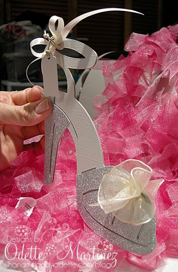 High heel shoe invitation . . . a sparkling silver pump! Perfect for ...