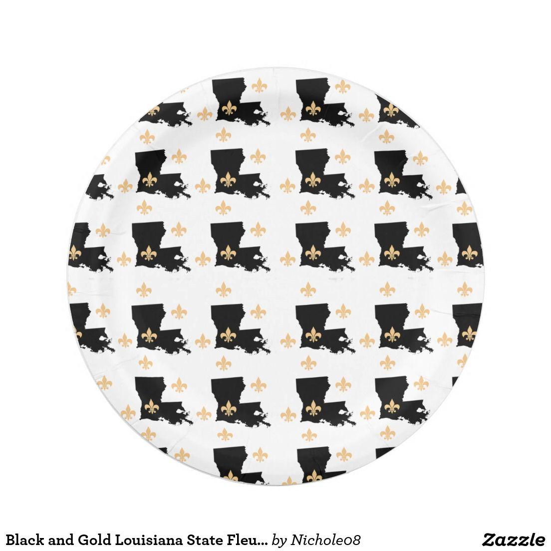 sc 1 st  Pinterest & Black and Gold Louisiana State Fleur-De-Lis Party Paper Plate