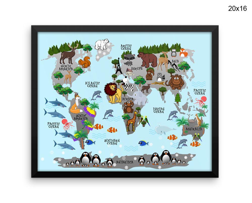 World map wall art framed animals canvas print world map framed wall world map wall art framed animals canvas print world map framed wall art animals poster world gumiabroncs Images
