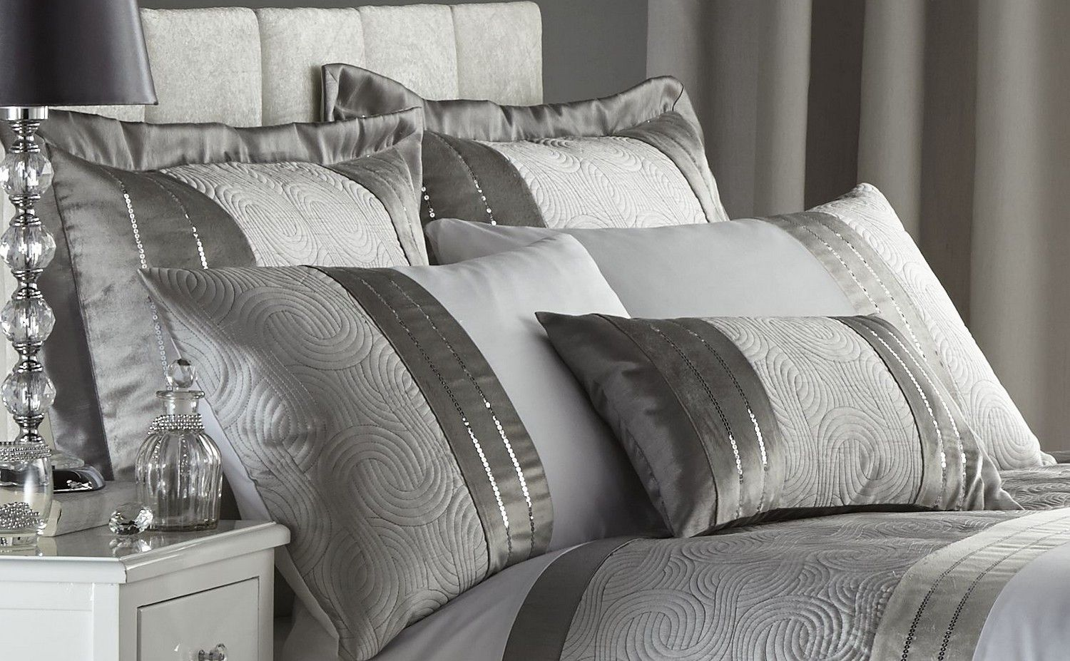 Silver Grey Luxury Duvet Quilt Cover Bedding Bed Set Or Curtains Bedspread