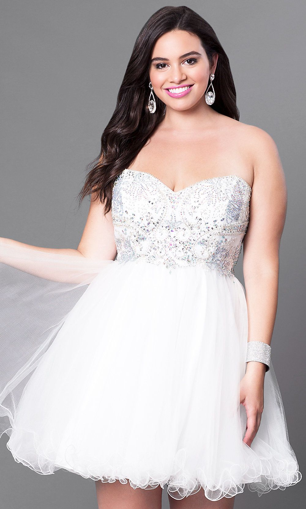 81ae1eec689 Plus-Size Strapless Homecoming Dress with Corset