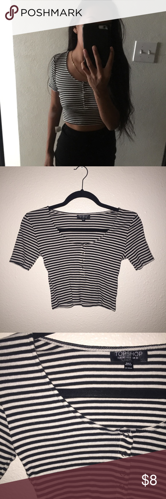 Top shop crop top Top shop crop top. Has black and white stripes. Will fit a small/medium the best. Topshop Tops Crop Tops