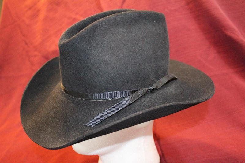 Vintage Stetson 4X Beaver Black Fur Felt Cowboy Western Hat Size 7 56cm 211cb59bc36b